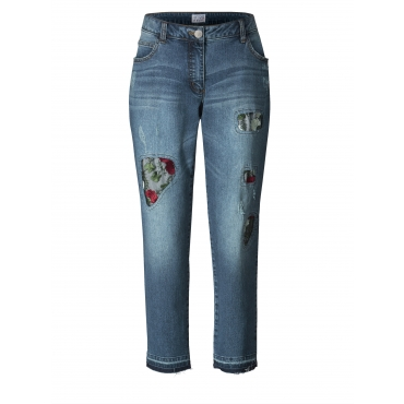 Slim Fit Jeans knöchellang mit Destroyed-Effekt Angel of Style Blau