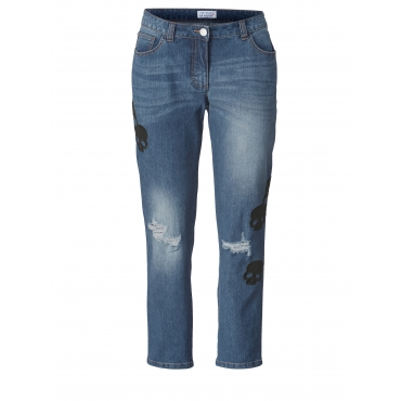 Slim Fit Jeans knöchellang mit Destroyed-Effekt Angel of Style Blau