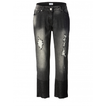 Slim Fit Jeans knöchellang mit Fransensaum Angel of Style Anthrazit