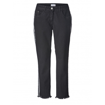 Slim Fit Jeans knöchellang mit Fransensaum Angel of Style Blau