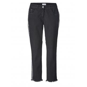 Slim Fit Jeans knöchellang mit Fransensaum Angel of Style Schwarz