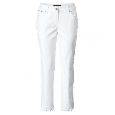 Slim Fit Jeans knöchellang mit Fransensaum Sara Lindholm weiss