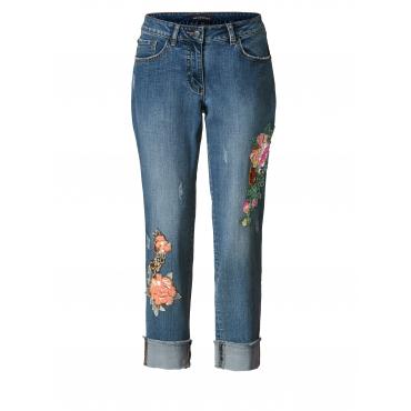 Slim Fit Jeans knöchellang mit Pailletten-Applikation Sara Lindholm Blau