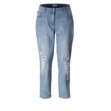 Slim Fit Jeans knöchellang mit Perlen Angel of Style Blau