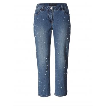 Slim Fit Jeans knöchellang mit Perlen Sara Lindholm Blau