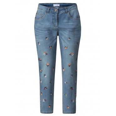 Slim Fit Jeans knöchellang mit Stickerei Angel of Style Blau