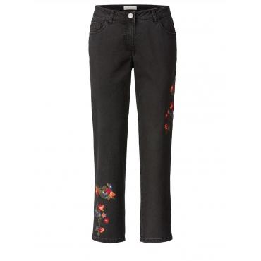 Slim Fit Jeans knöchellang mit Stickerei Janet & Joyce schwarz