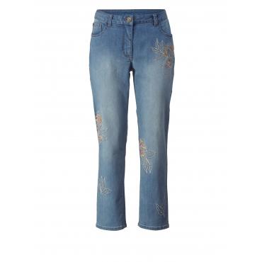 Slim Fit Jeans knöchellang mit Stickerei Sara Lindholm Blau