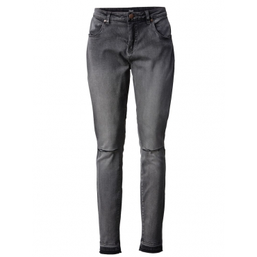 Slim Fit Jeans mit Cut-Out und Fransensaum Zizzi dark blue denim