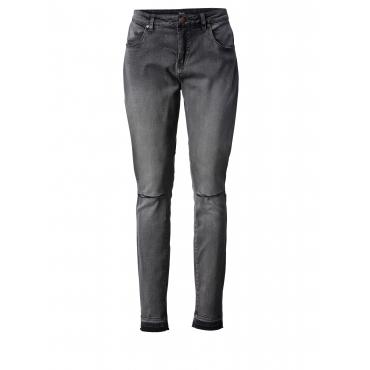 Slim Fit Jeans mit Cut-Out und Fransensaum Zizzi Dunkelgrau