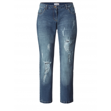 Slim Fit Jeans mit Destroyed-Effekt Angel of Style Blau