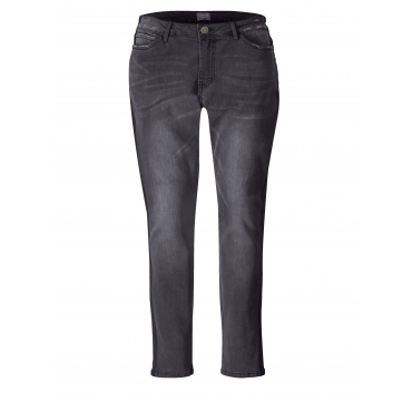 Slim Fit Jeans mit Destroyed-Effekt Junarose Grau