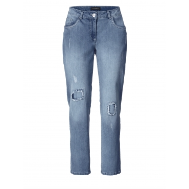 Slim Fit Jeans mit Destroyed-Effekt Sara Lindholm Blau