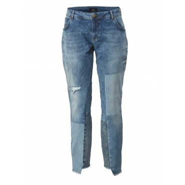 Slim Fit Jeans mit Destroyed-Effekt Zizzi Blau