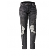 Slim Fit Jeans mit Fransen Zizzi black denim washed