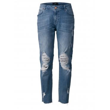 Slim Fit Jeans mit Fransen Zizzi Schwarz
