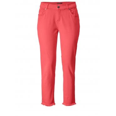 Slim Fit Jeans mit Fransensaum Jette Koralle