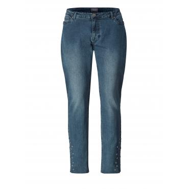 Slim Fit Jeans mit Fransensaum Junarose Blau