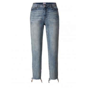Slim Fit Jeans mit Fransensaum Junarose blue denim