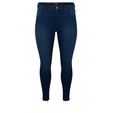 Slim Fit Jeans mit Fransensaum Zizzi Dunkelblau