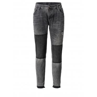Slim Fit Jeans mit Fransensaum Zizzi Grau