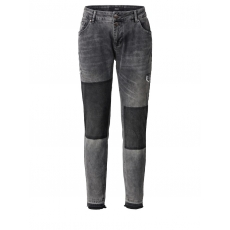 Slim Fit Jeans mit Fransensaum Zizzi grey denim