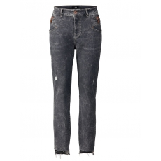 Slim Fit Jeans mit Fransensaum Zizzi grey denim