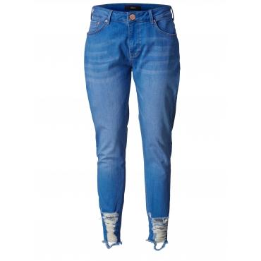 Slim Fit Jeans mit Fransensaum Zizzi Hellblau