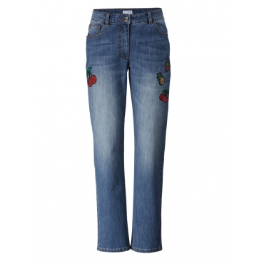 Slim Fit Jeans mit Pailletten-Patches Angel of Style Blau