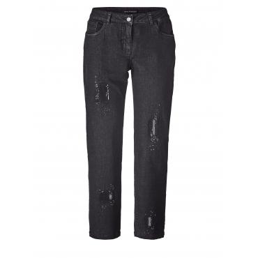 Slim Fit Jeans mit Pailletten Sara Lindholm Schwarz