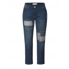Slim Fit Jeans mit Patches Janet & Joyce blue denim