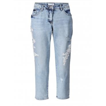 Slim Fit Jeans mit Stickerei knöchellang Angel of Style Hellblau
