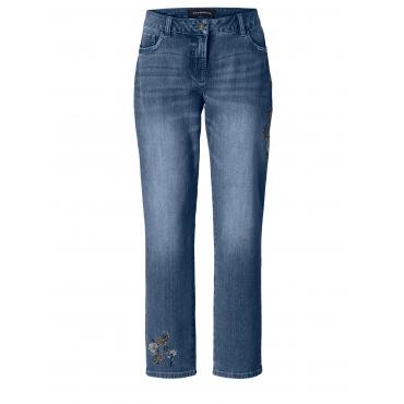 Slim Fit Jeans mit Stickerei Sara Lindholm Blau