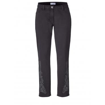 Slim Fit Jeans mit Stickerei und Pailletten Angel of Style Schwarz