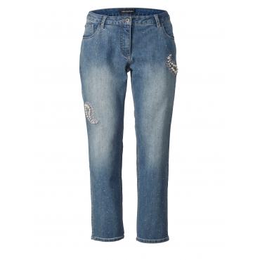 Slim Fit Jeans mit Strass und Perlen Sara Lindholm Denim
