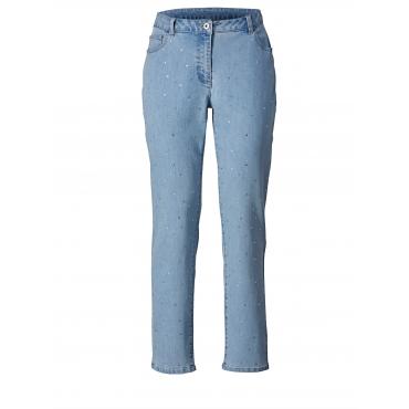 Slim Fit Jeans mit Strasssteinen Sara Lindholm Blau