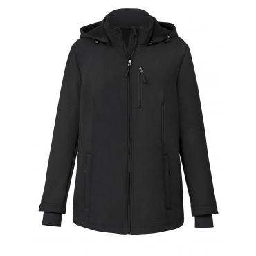 Softshell-Jacke mit Kapuze schwarz