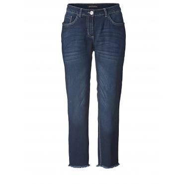 Straight Cut Jeans knöchellang mit Fransensaum Sara Lindholm Dunkelblau