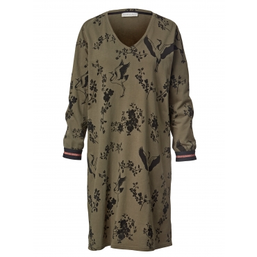 Sweat-Kleid mit Allover-Print Janet & Joyce Oliv