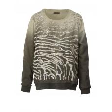 Sweatshirt oil wash mit Pailletten OpenEnd khaki-silber