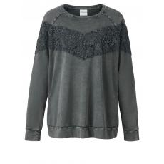 Sweatshirt oil wash mit Spitze Junarose blaugrau oilwashed