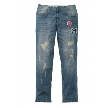 Tapered-Jeans Men Plus blue stone overdyed