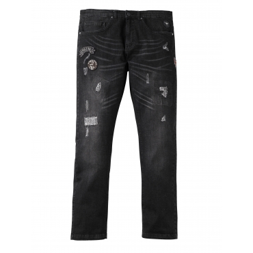 Tapered Jeans mit Destroyed-Effekt und Badges Men Plus schwarz