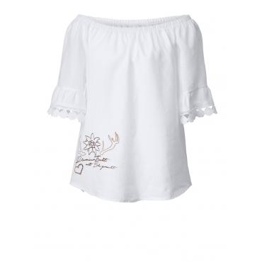 Trachten-Bluse mit Carmen-Ausschnitt Hangowear weiß