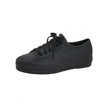 Triple Kick Leather Plateausneaker Keds schwarz