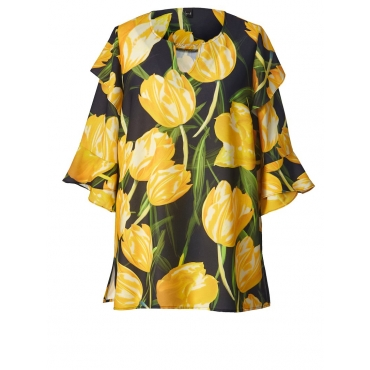 Tunika mit Blumen-Print und Volants YOEK schwarz bedruckt