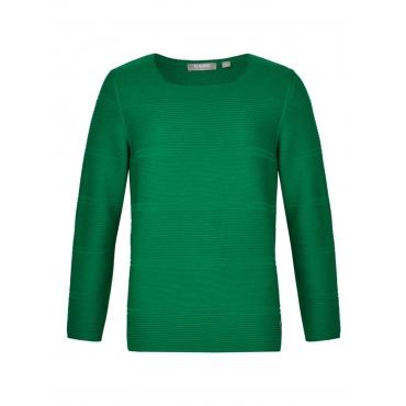 Unifarbener Pullover mit Rippenstrick Rabe BLATTGRUEN
