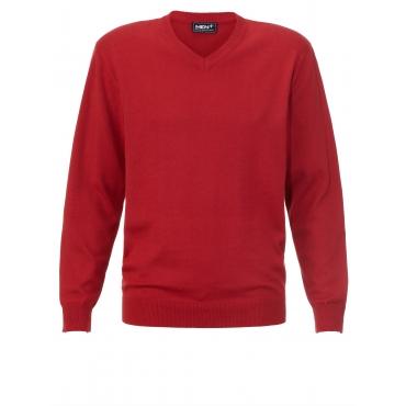 V-Pullover Men Plus blau meliert