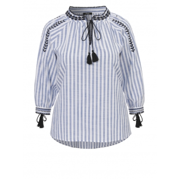 Verspieltes Blusen-Shirt mit Stickerei Frapp fresh blue / white