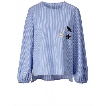 Vokuhila-Bluse gestreift Angel of Style Blau